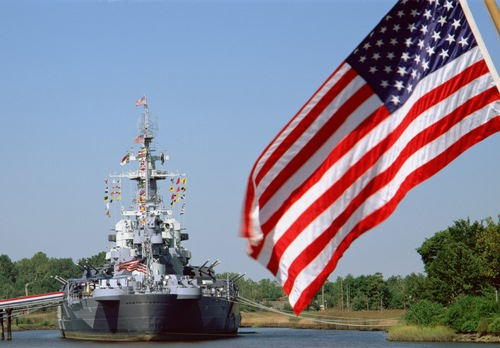 Battleship NC with Flag